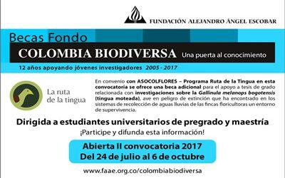 Abierta II convocatoria 2017 Becas Colombia Biodiversad
